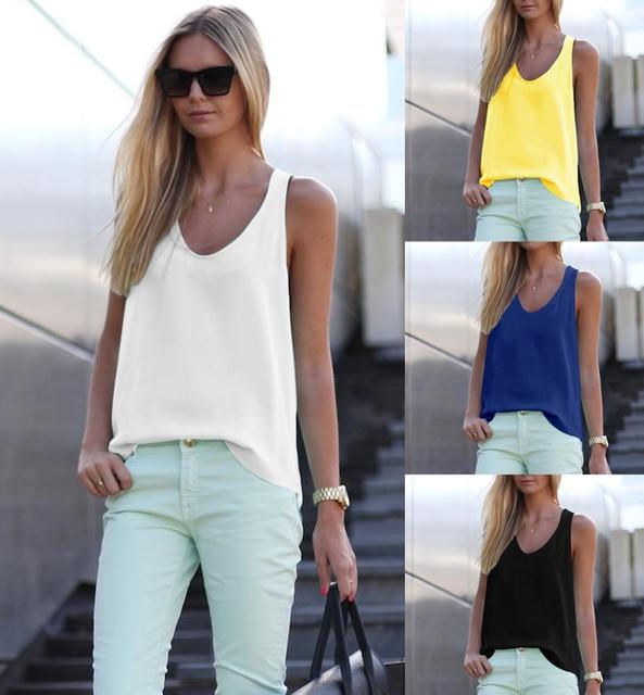 0eddd5f346b 2018 New Women Summer Casual Tank Tops Sleeveless Chiffon Loose Vest Top  Blouse Tee Shirt Hot