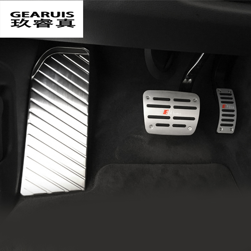 Car styling Car Fuel Brake Foot Pedal Stainless Steel Stickers Cover for Audi Q7 2016 2017 panel Decorative Interior <font><b>Accessories</b></font>