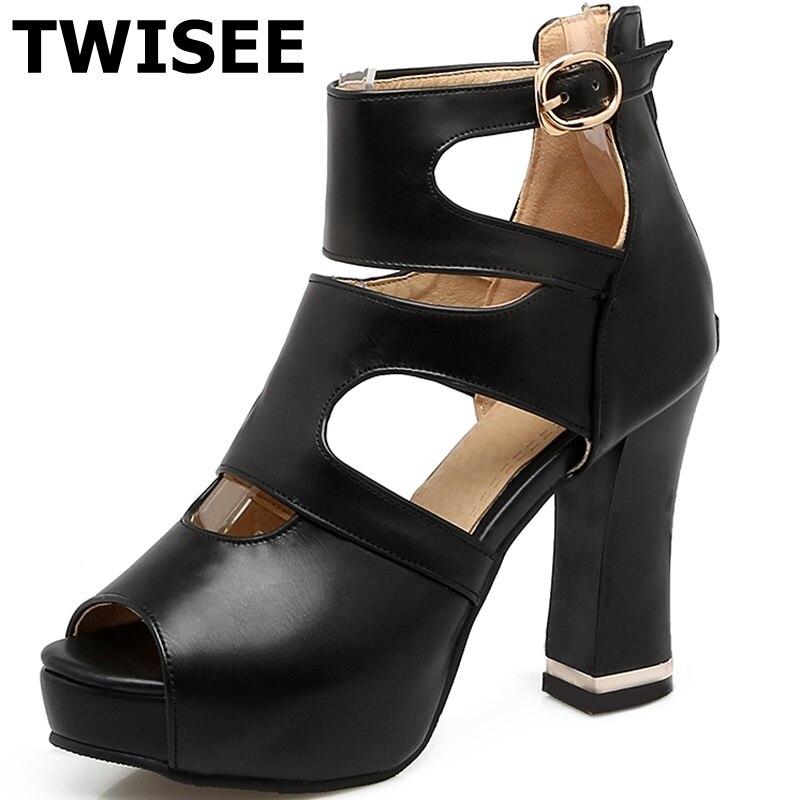 ФОТО Platform pu leather summer sandals fashion peep toe ladies woman shoes sandals Solid Square heels 10 cm woman party shoes