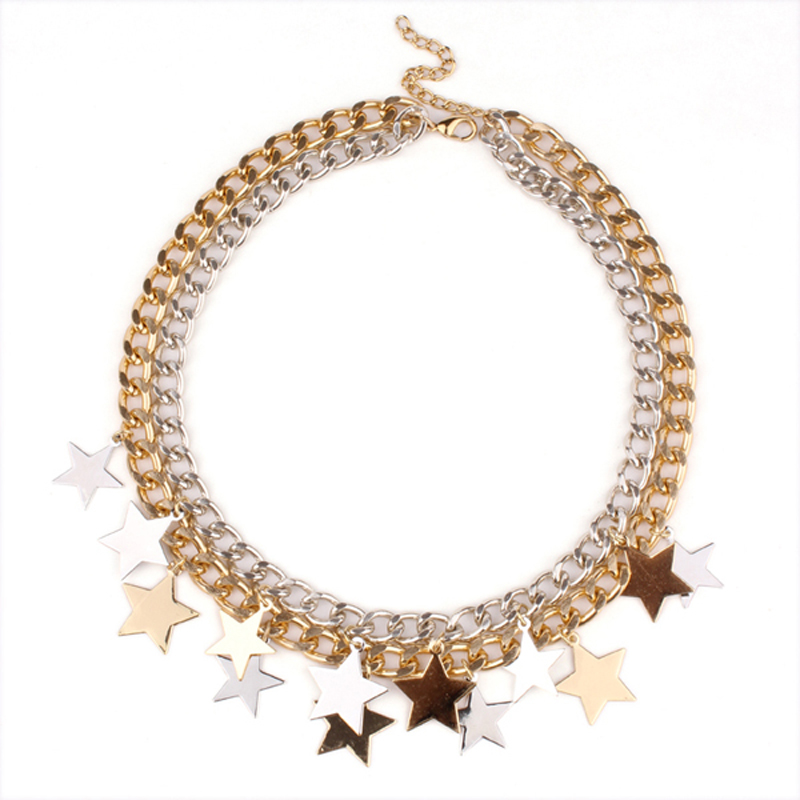 Wholesale shourouk Chain chunky necklace Choker statement necklaces & pendants mix plated color small star pendant necklace Ожерелье