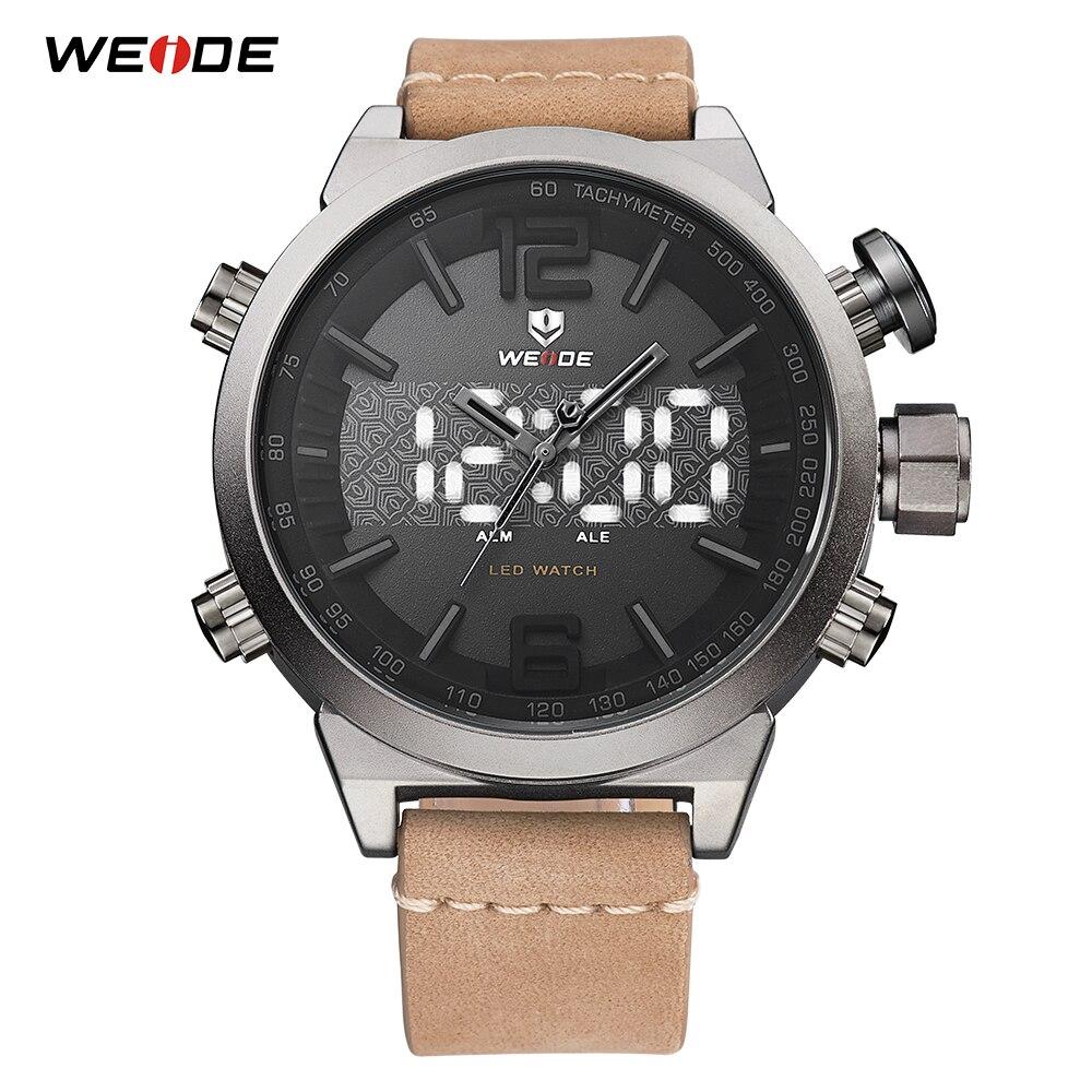 aa95f5f0c43 Analógico homens WEIDE LEVOU Display Digital Relógio de Quartzo com Pulseira  de Couro Movimento Relogio masculino