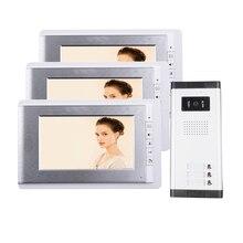 ENVÍO GRATIS Brand 7 pulgadas Sistema de Videoportero De Intercomunicación 3 Monitor de 1 HD Timbre Cámara para 2 Apartamento Del Hogar Al Por Mayor