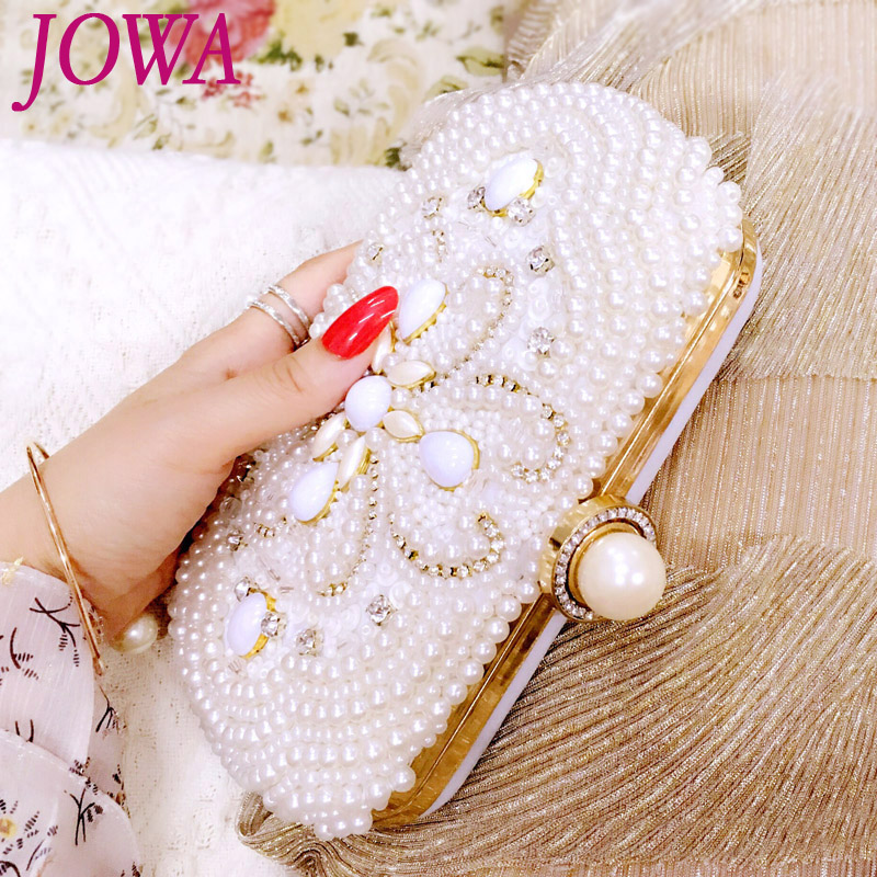 2017 New Design Women's Evening Bag Socialite Pearl Mini Handbag Wedding Party Bride Package Night Purse White Clutch With Chain