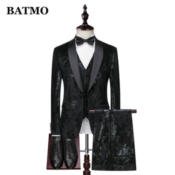 BATMO 2019 new arrival fashion printed flowers casual suits men,men's wedding dress,jackets+pants+vest,XZ303