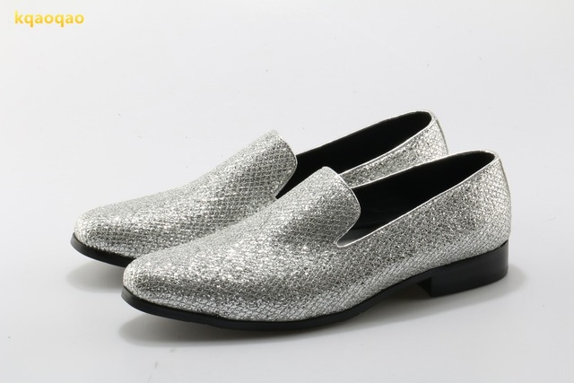 dac57a606600 kqaoqao Silver Glitter Flat Men Dress Shoes Leather Chaussure Homme Slip On  Mocassin Men Loafers Casual