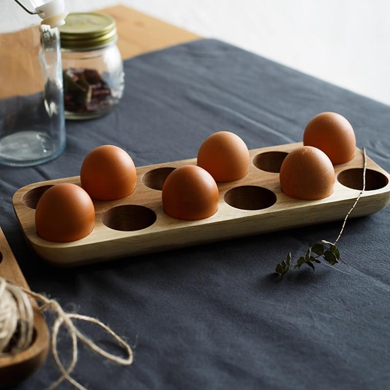 Wooden Double Row Egg Storage Box Home Organizer Rack Eggs Holder Kitchen Decor Accessories 4