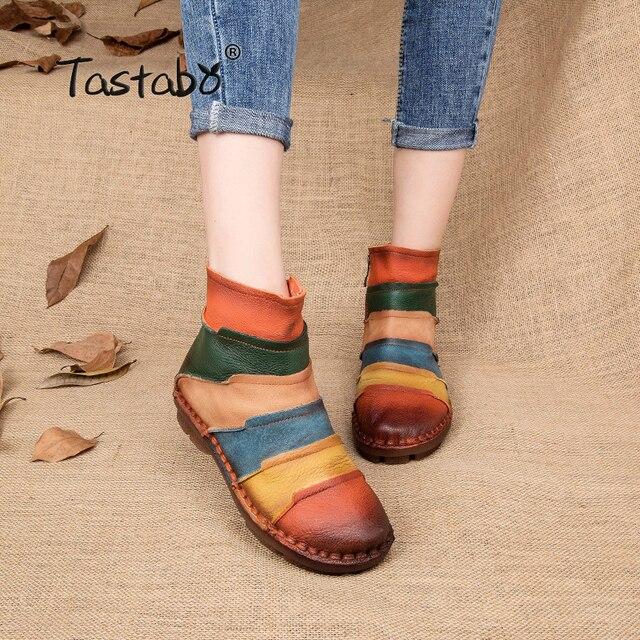 Tastabo Sıcak Satış Ayakkabı Martin Çizmeler Hakiki Deri Ayak Bileği Ayakkabı Bağbozumu Rahat Ayakkabılar Marka Tasarım Retro El Yapımı Kadınlar Çizmeler Bayan