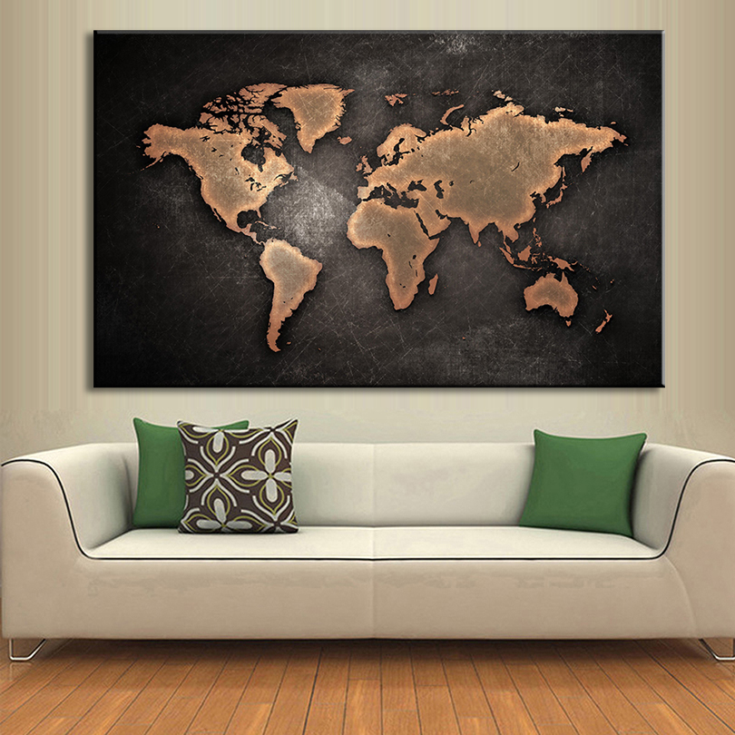Map Painting Prints On Canvas Abstract Black World Map
