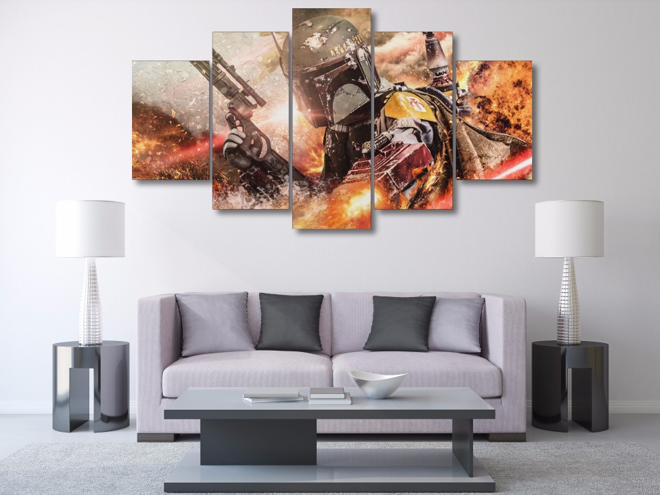 TYG 5 Panel Movie Game Posters Star Wars Modern Home Decor Wall Art Modular Painting Canvas HD Prints For Living Room Frameworks