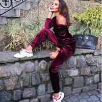 Tobinoone Chic Long Sleeve Bodycon Jumpsuit Blue Green Winered Women Autumn Casual Playsuit Single shoulder Halter Jumpsuit