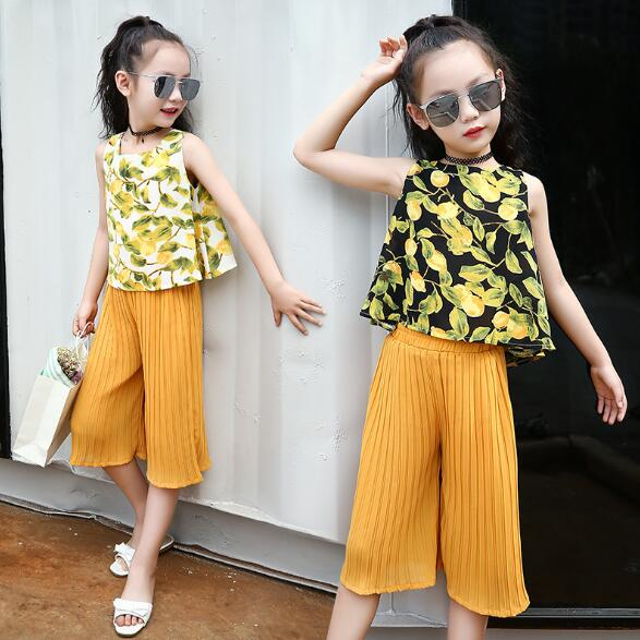 Teenage Little Girls Clothes Sets Summer Children Girls Chiffon Clothing Set Kids Sleeveless Print Tops+Pants Girls 2pcs Suit