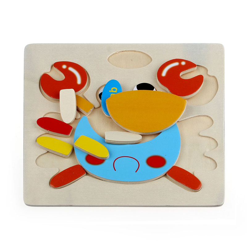 Niosung New Wooden Cute Crab Puzzle Educational Developmental Baby Kids Training Toy Kids Game Gift Toys