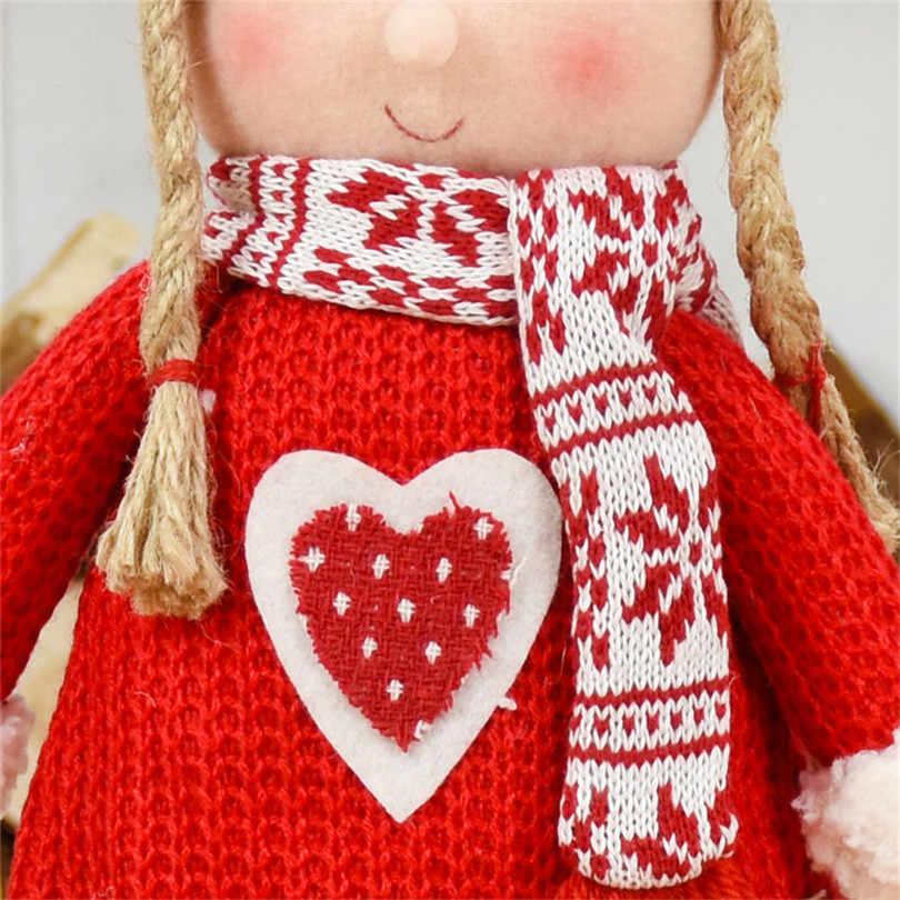 Czerwone lalki świąteczne dekoracje świąteczne dla domu święty mikołaj bałwanek zabawki świąteczny prezent figurki Adornos De Navidad Para Casa