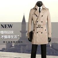 Для мужчин одежда Весна и осень большие размеры Для мужчин Повседневная плащ двубортный Тренч пальто Для мужчин S тонкий бежевый casaco masculino