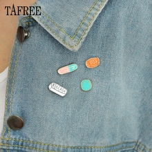 TAFREE Capsule pill Lapel Pins LETTERS CALM Down,CHEER UP,JUST STOP,SMILM,RELAX Brooch Alloy Badge Originality Jewelry LP250 city calm down melbourne