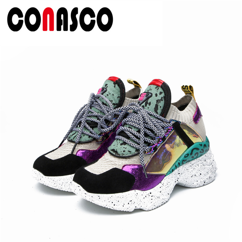 CONASCO Spring Summer Fashion Mixed Colors Lace Up Women Sneakers Classic Comfortable Breathable Women Flats Casual Shoes WomanCONASCO Spring Summer Fashion Mixed Colors Lace Up Women Sneakers Classic Comfortable Breathable Women Flats Casual Shoes Woman
