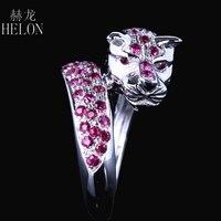 HELON Solid 14 k белое золото леопардовая полоска для мужчин ювелирные изделия Подлинная. 95CT натуральный рубин помолвка новый дизайн кольцо живот