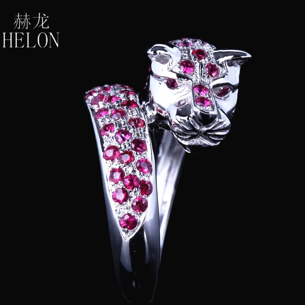 HELON Solid 14k White Gold Leopard Band Men Jewlery Genuine .95CT Natural Ruby Engagement New Design Ring Animal Stylish Jewelry цена 2017