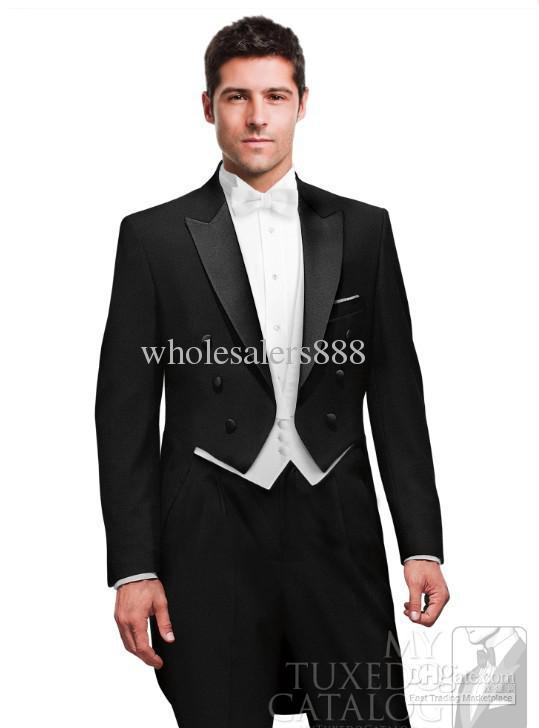 Design personnalisé Noir Smokings de Marié Maximale de Revers Habit  Meilleurs Costumes Pour Hommes Mans De Mariage De Bal Dîner Costume (Veste  + pantalon + ... 72cadb2b69f
