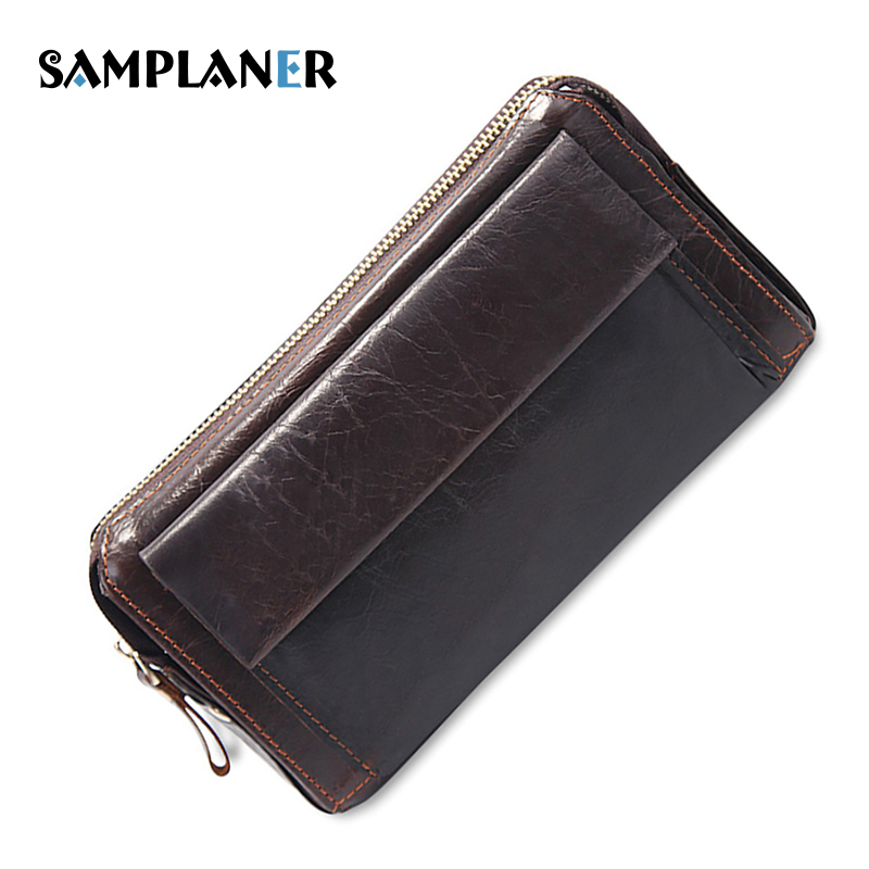 Real Genuine Leather Men Wallets Business Credit Card Holders Male Large Long Wallet Black Multifunctional Clutch Bags Carteira 2016 famous brand new men business brown black clutch wallets bags male real leather high capacity long wallet purses handy bags