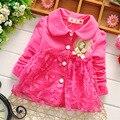 Moda Primavera Rendas Princesa Do Bebê Meninas Crianças Crianças Infantil Jaquetas Casaco Outwear Trincheira Cardigan MT004