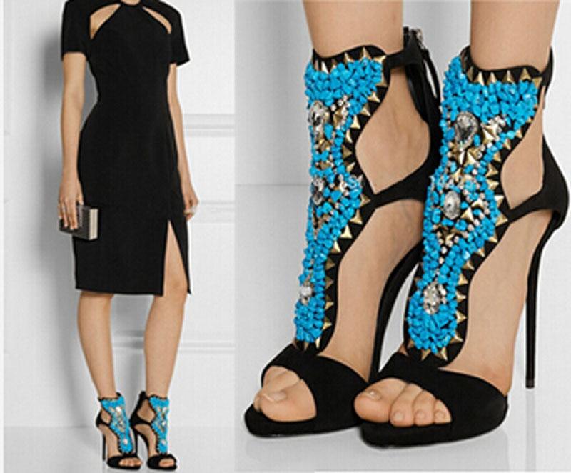 newest open toe ankle strap high heel sandals crystal and rivets studded embellished gladiator sandals цена
