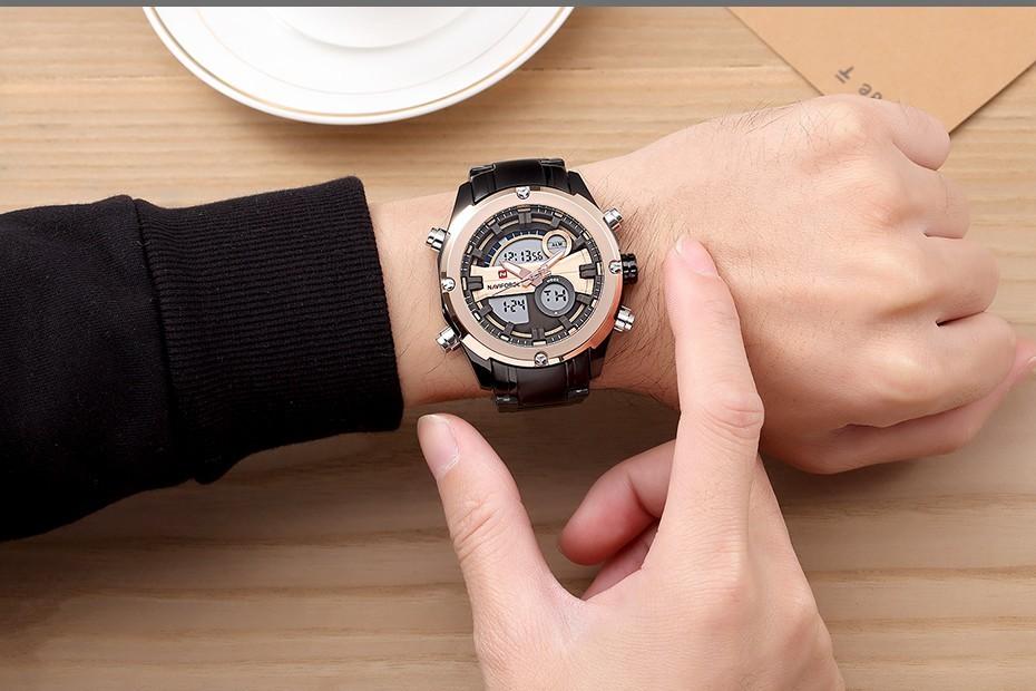 Top Luxury Brand NAVIFORCE Men Full Steel Sport Watches Men's Quartz Analog LED Clock Man Military Wrist Watch Relogio Masculino 12