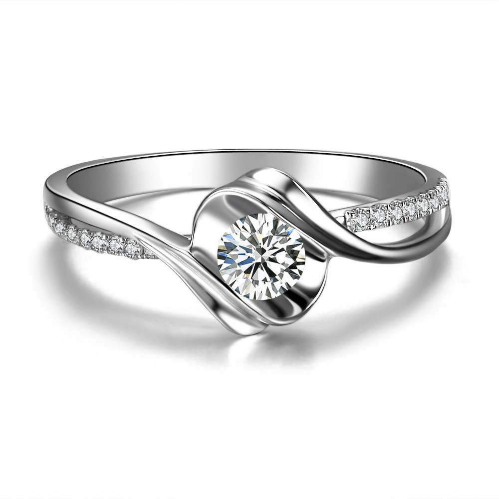 013ct Natural Diamond Wedding Ring Women18k White Real Gold Shining  Forever Love Fine Jewelry Sumptuous