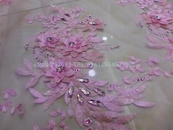 La Belleza 1 yard Hot Pink sequins acrylic stones 3D handmade flowers on net wedding dress/evening/show/stage dress lace fabric
