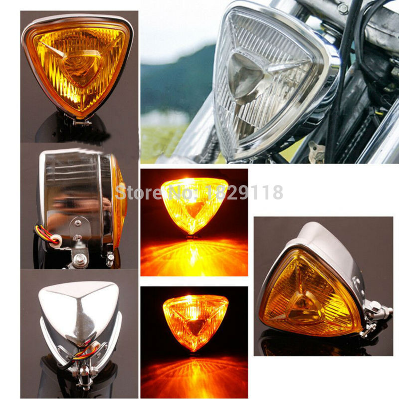 RPMMOTOR ARIS Style Triangular Motorcycle Headlight Custom Chrome H6 3-Prong Connector HD