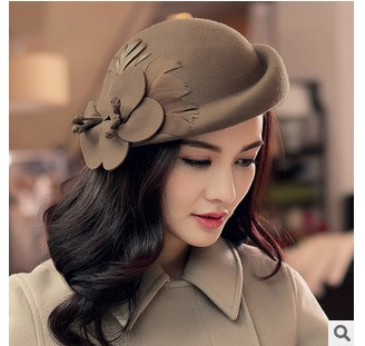 48a1f08bbb460 Big flower beret wool in winter trilby hat of England female elegant winter  hats fedoras wholesale
