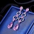 ZHE FAN Pink Purple Champagne AAA Cubic Zirconia Fashion Dangle Long Earrings For Women Party Water Drop Earring Female Jewelry