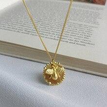 Silvology 925 Sterling Silber Cartoon Insekt Biene Halskette Gold Original Modische Weibliche Anhänger Halskette 925 Geburtstag Schmuck