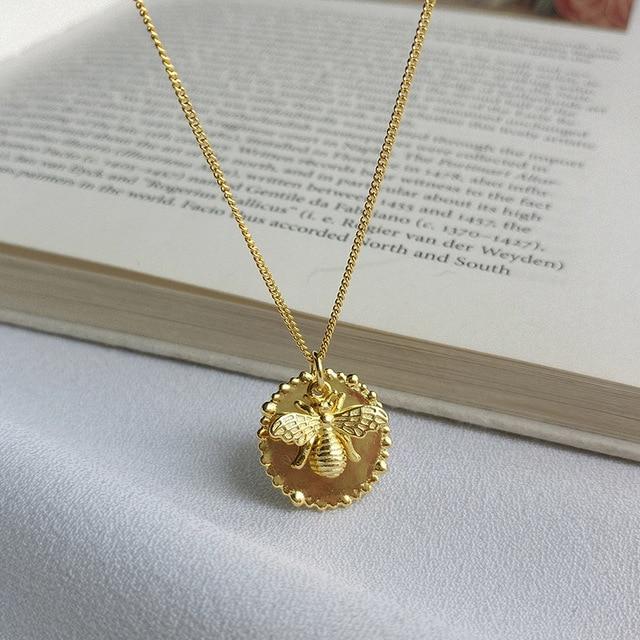 Silvology 925 סטרלינג כסף קריקטורה דבורת חרקים שרשרת זהב מקורי אופנתי נשי תליון שרשרת 925 יום הולדת תכשיטים