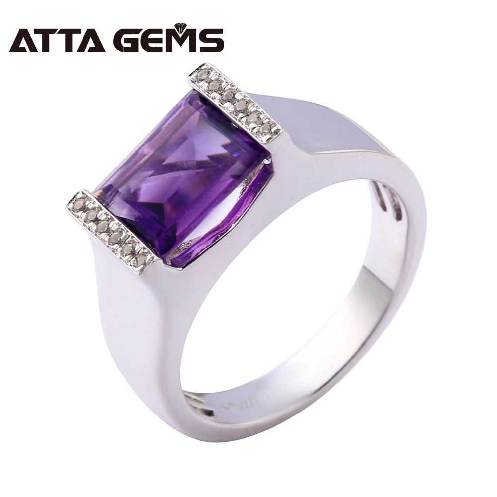 Natural Amethyst Sterling Silver Rings Unisex Design 5 5 Carats Natural Crystal Amethyst Women and Men