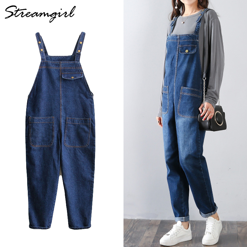 Women Jumpsuit   Jeans   Denim Overalls Women Cotton Winter Loose Jumpsuit Female Black Overall   Jeans   Plus Size Jumpsuits Black