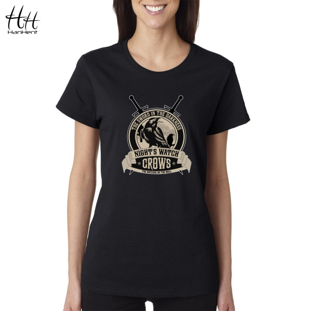 hanhent game of thrones crows t shirts women 2016 spring new arrival woman casual fitness t. Black Bedroom Furniture Sets. Home Design Ideas