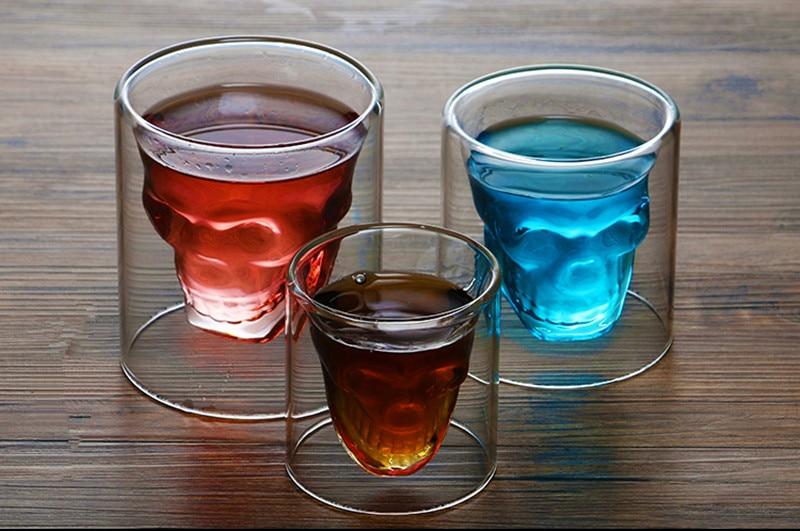 Novelty Cups 25ml-250ml Double Wall Skull Skeleton Whisky Bar wine glasses Glass Cup Crystal Skull Head Vodka Shot Wine Glass 6