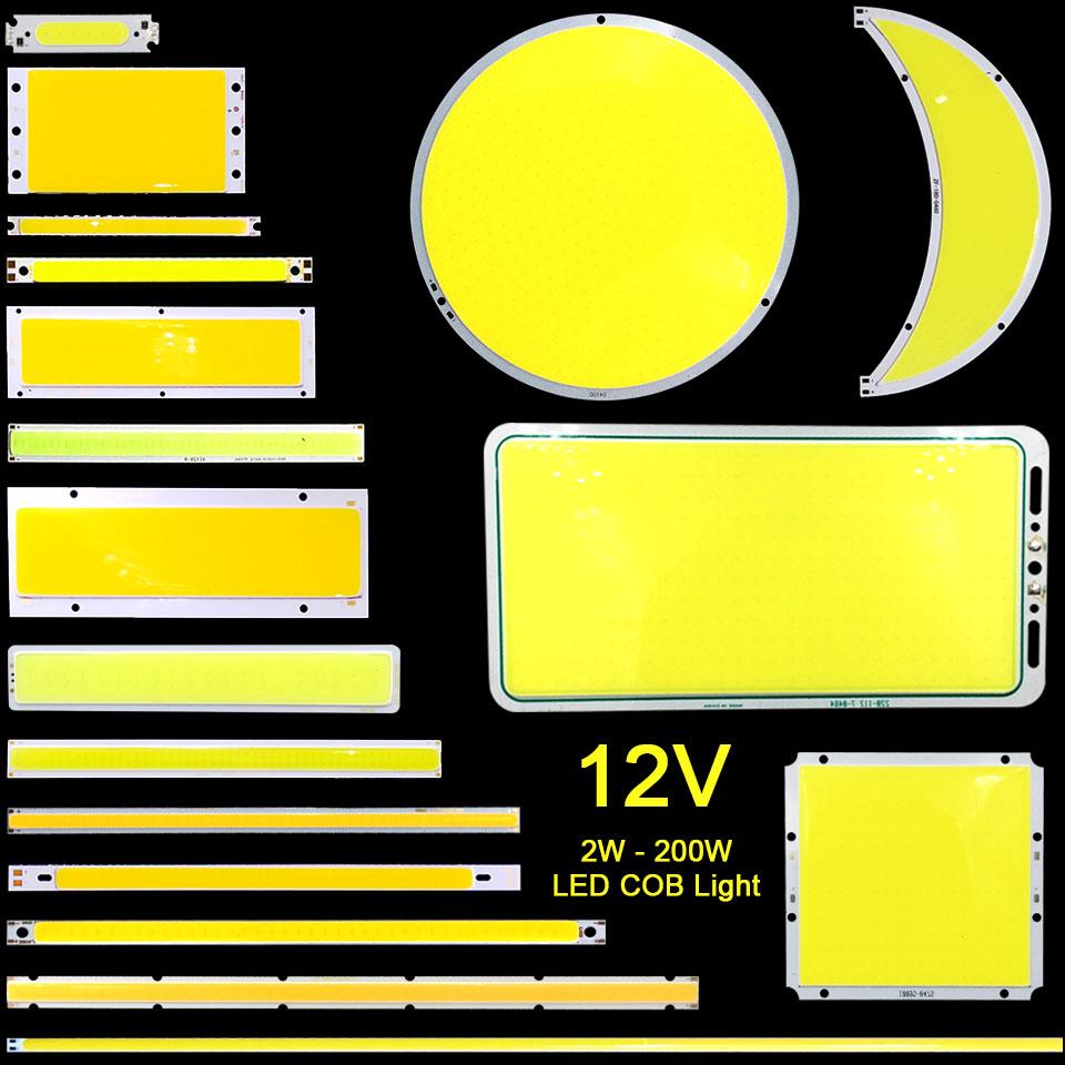 [Sumbulbs] DC12V COB LED Strip Light Lamp 200W 50W 20W 10W 12V Bulb Blue Red White Matrix LED Chip On Board DIY Car DRL Lighting 50w 25 led red