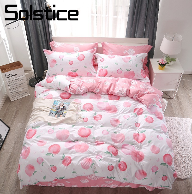 Solstice Home Textile Kid Girl Bedding Set Honey Peach Pink Duvet Cover Pillowcase Sheet Adult Woman Bed Linen Queen Full SingleSolstice Home Textile Kid Girl Bedding Set Honey Peach Pink Duvet Cover Pillowcase Sheet Adult Woman Bed Linen Queen Full Single