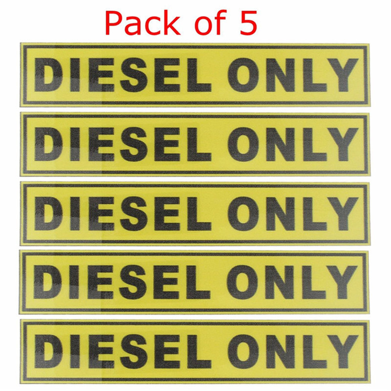 5pcs For Diesel Only Vinyl Sticker Decal Label Oil Warning
