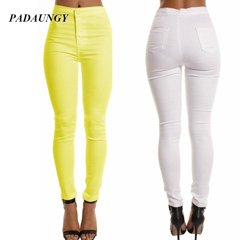 PADAUNGY Slim Fit Trousers Pencil Jeans White Black Jeggings High Waist Jean Femme Slim Women Jegging Plus Size Pantalons Mujer