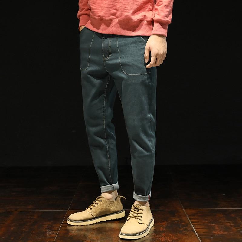 High Quality Jean Men 2018 New Design Vintage Denim Pants Black Green Harem Jeans Solid Male Trouser Plus Size 28-38 40 42 #5165