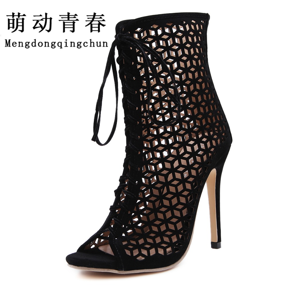 New Arrival Women Sandals Fashion  Ladies Shoes Hollow High Heels Shoes Woman Pumps Lace Up Sapato Feminino Salto Alto pumps summer women shoes casual cutouts lace canvas shoes hollow floral breathable platform flat shoe sapato feminino lace sandals