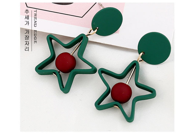 Pentagram Round Earrings Brincos Oorbellen Simple Mixed colors Ball Drop Earrings