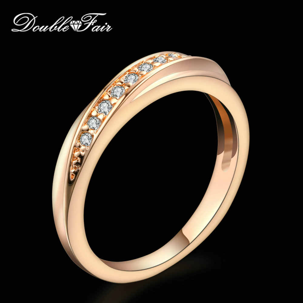 Double Fair Unique Cubic Zirconia Wedding/Engagement Rings For Women Silver/Rose Gold Color Women's Ring Classic Jewelry DFR314