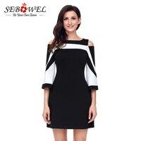 Sebowel Black White Patchwork O Neck Half Sleeve Dress Women Casual Loose Dresses Cold Shoulder Dress