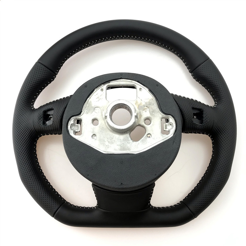 Image 5 - NoEnName_Null  for Audi A3 A4 A5 A6 A7 Q3 Q5 Q7 fully perforated steering wheel flat bottom steering wheel campaignSteering Wheels & Horns   -