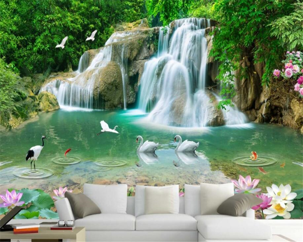 US $8 85 OFF Beibehang Custom Wallpaper Natural Mural HD Landscape Lotus Goldfish Waterfall Wallpaper Living Room Backdrop 3d Wallpaper