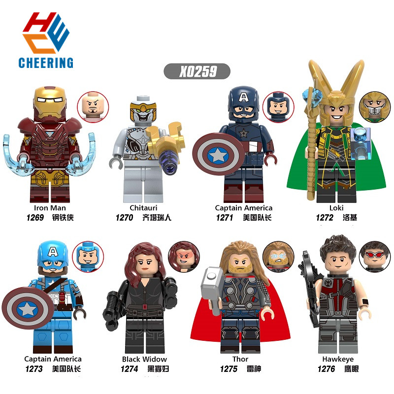 Single Avengers Endgame Iron Man Figures Loki Action Thor Hammer Black Widom Hawkeye Building Blocks Toys For Children X0259
